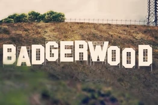 Photo illustration showing classic Hollywood sign but reading Badgerwood instead