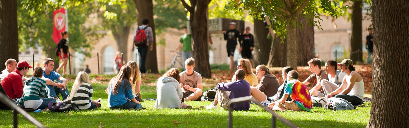 Students sitting in a circle on Bascom Hill