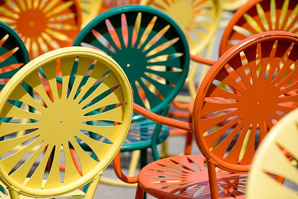 Colorful Wisconsin Union terrace chairs
