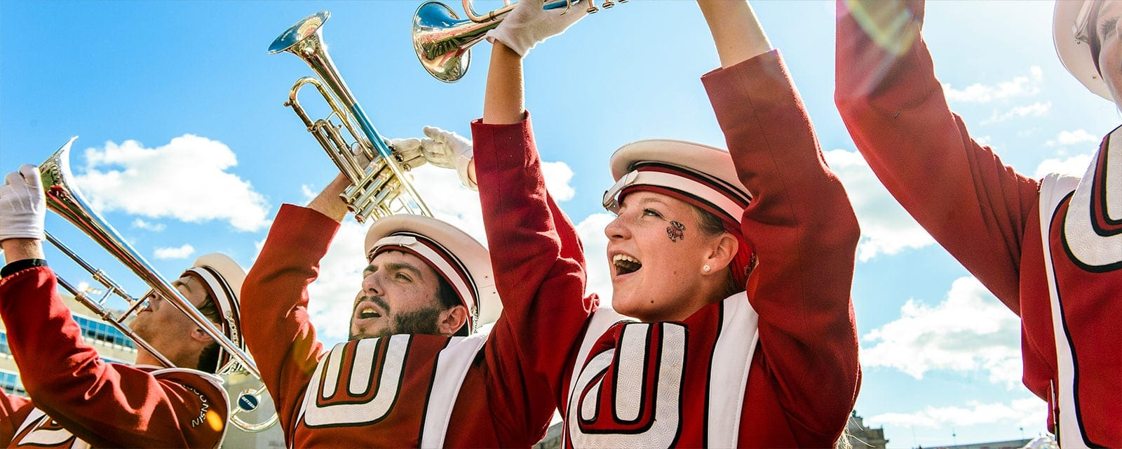 Close-up of two trumpet players in the University of Wisconsin–Madison marching band