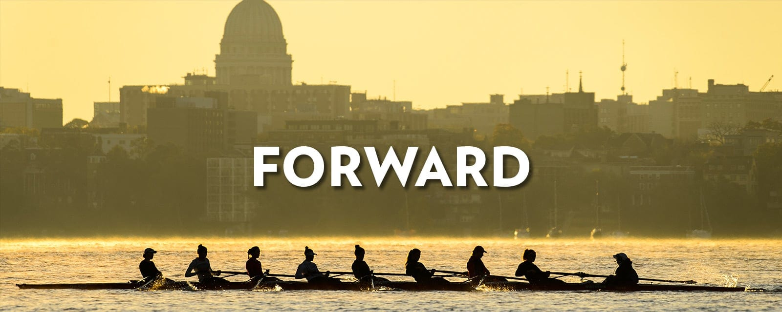 Silhouette of crew team rowing in front of the Madison skyline with the word forward