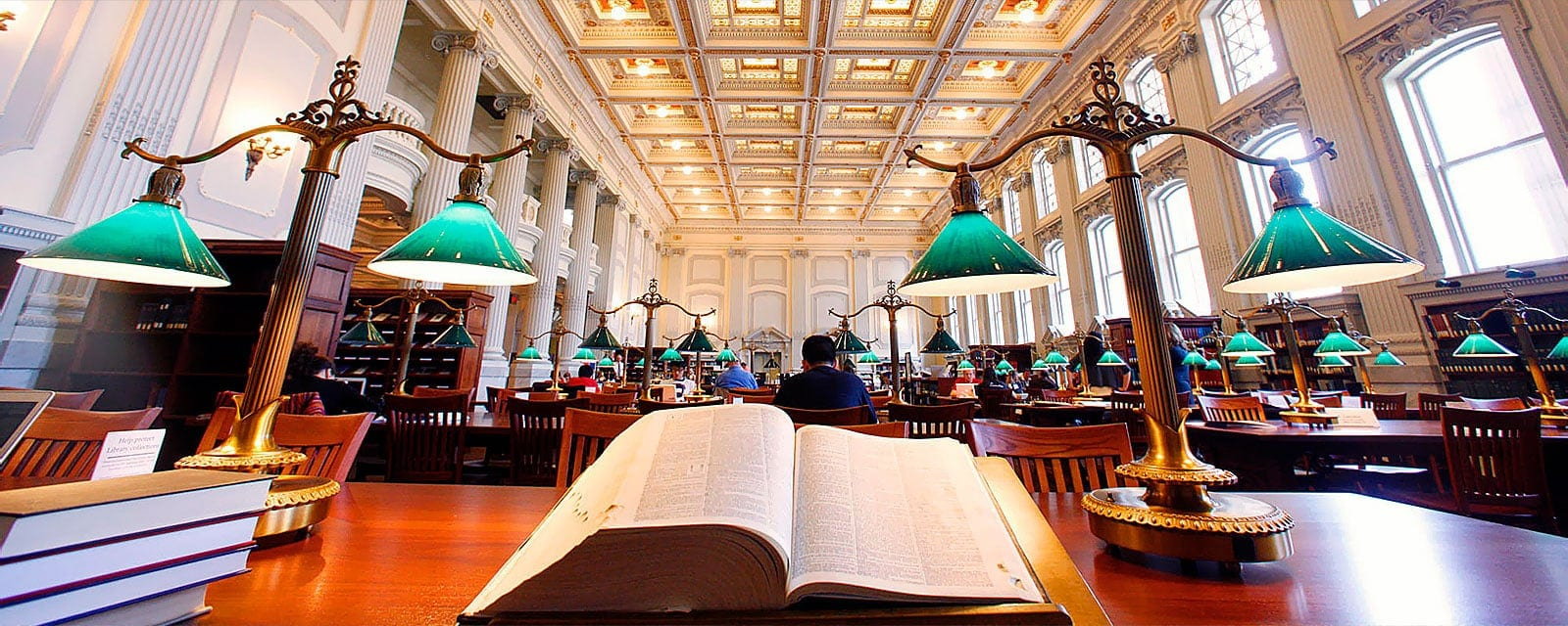 Long view of the state library's reading room
