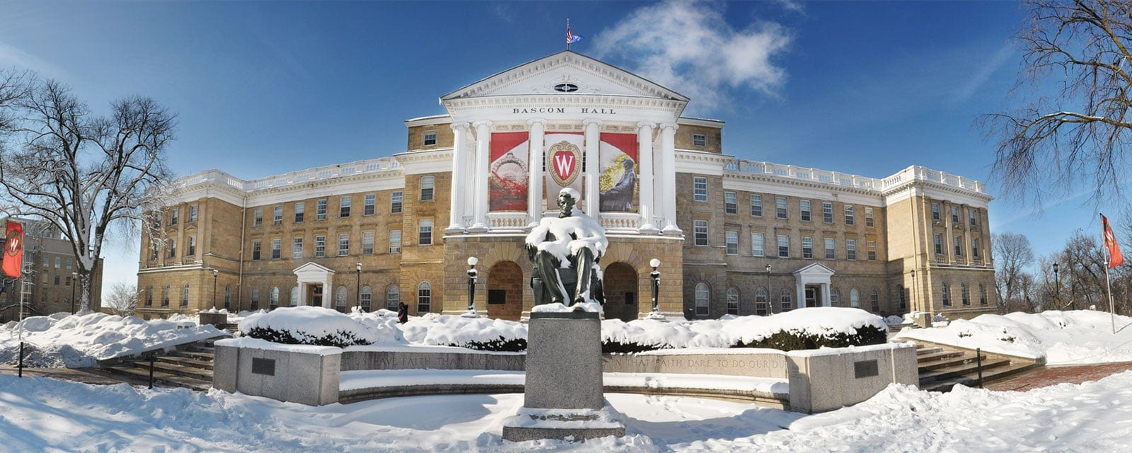 Snow on the Lincoln statue and Bascom Hall