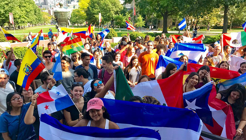 A large group of students gather for the annual march on Bascom for the kickoff of Latinx Heritage Month.