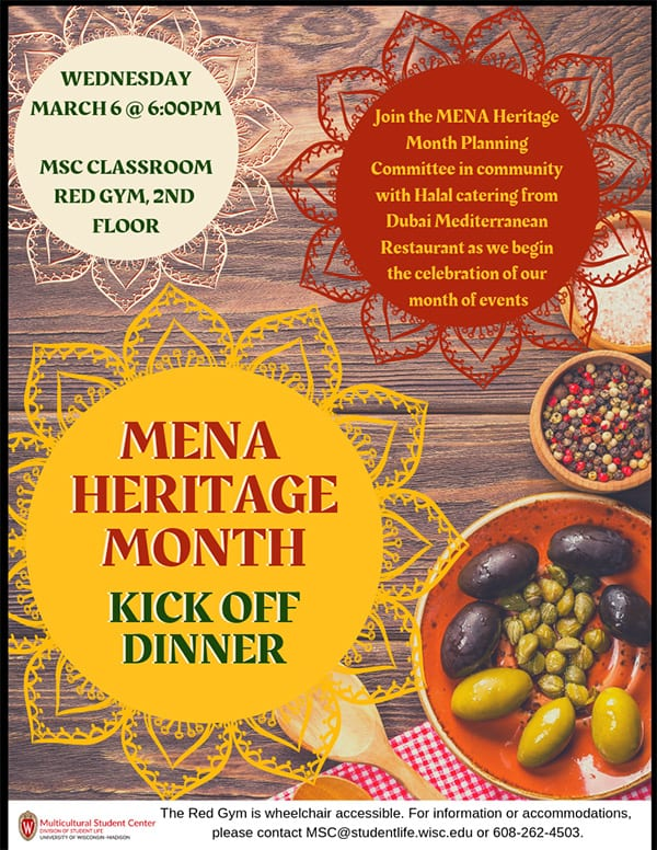 Poster titled 'MENA Heritage Month Kick Off Dinner'