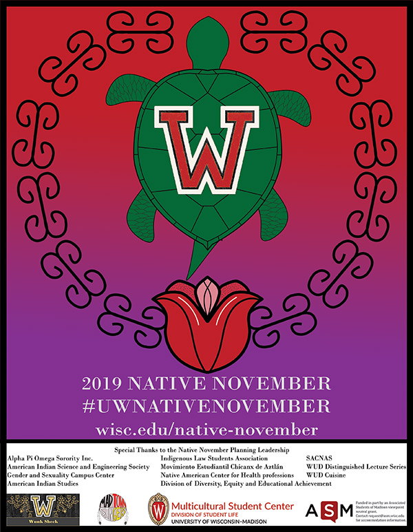 Poster for Native American Heritage Month at UW–Madison, Nov. 1-30
