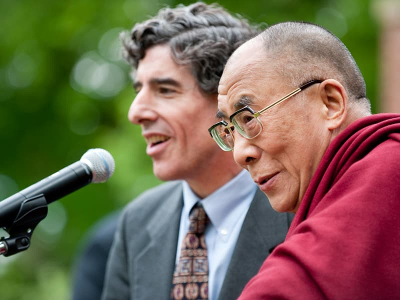 Director of the Center for Investigating Healthy Minds Richard Davidson talks with the Dalai Lama