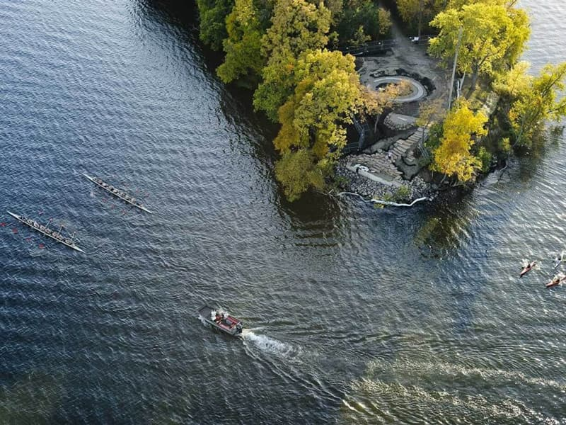 Aerial, birdseye view of Picnic Point with kayakers